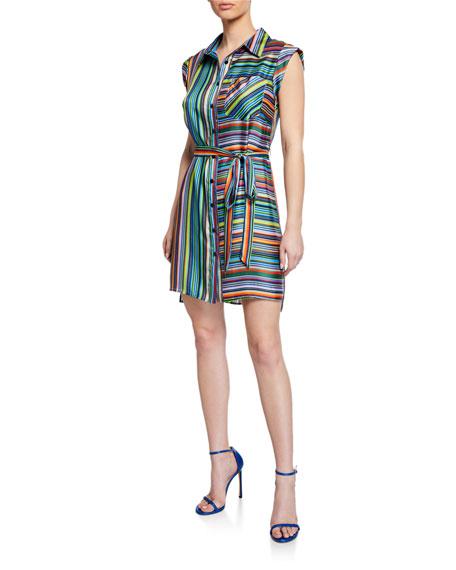 Milly Rainbow Stripes Sleeveless Twill Shirtdress