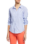 Frank & Eileen Dot-Print Button-Down Long-Sleeve Cotton Poplin