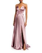 Faviana Charm V-Neck Sleeveless Full Skirt Satin Gown