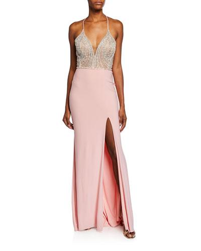 V-Neck Beaded Bodice Sleeveless Gown w/ Thigh-Slit & Lace-Up Back