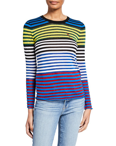 Cool Stripe Metallic Embroidered Safety Pin Tee