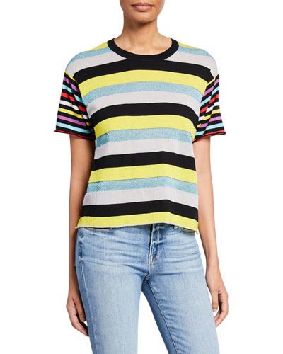 Mix Stripe Short-Sleeve Boyfriend Tee