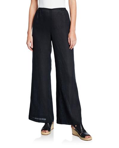 Plus Size Tissue Linen Wide-Leg Pants