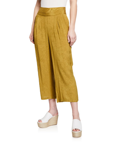 Pusna Wide-Leg Cropped Culotte Pants