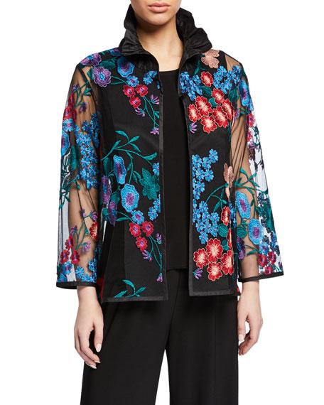 Caroline Rose Plus Size Fresh Flower Embroidery Jacket