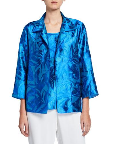 b5a65a01499 Quick Look. Caroline Rose · Plus Size Blue Hawaii Floral Jacquard Jacket