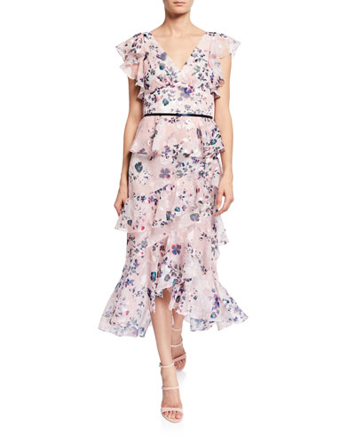 Floral-Print Burnout Chiffon V-Neck Flutter-Sleeve Ruffle Dress