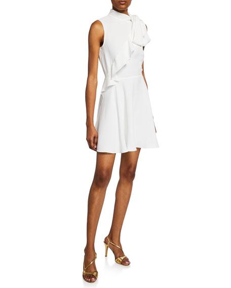 Jay Godfrey Mia Sleeveless Mock-Neck Ruffle Bow Mini Dress