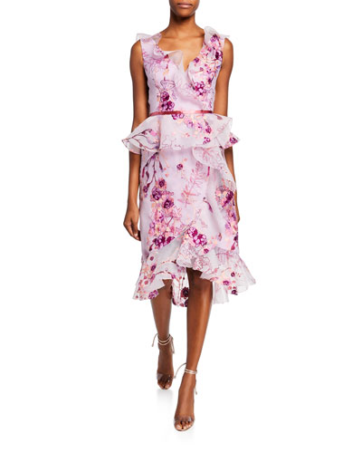 Sleeveless V-Neck Floral Organza Peplum Dress w/ Ruffle Trim