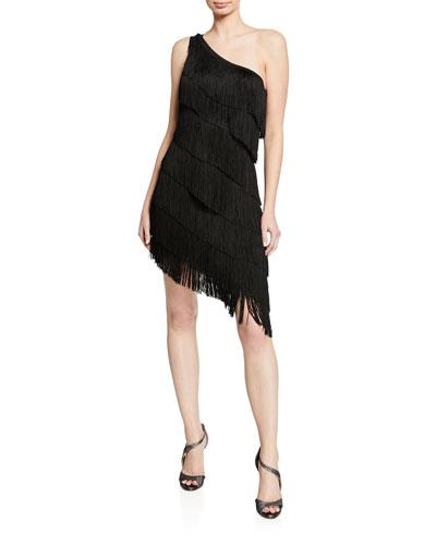 One-Shoulder Sleeveless Asymmetric Fringe Dress