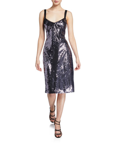 Beau Sequin Sleeveless Cocktail Dress w/ Mesh Panel Overlay