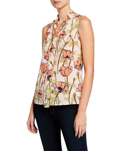 Floral-Printed Sleeveless Tie-Neck Bow Blouse