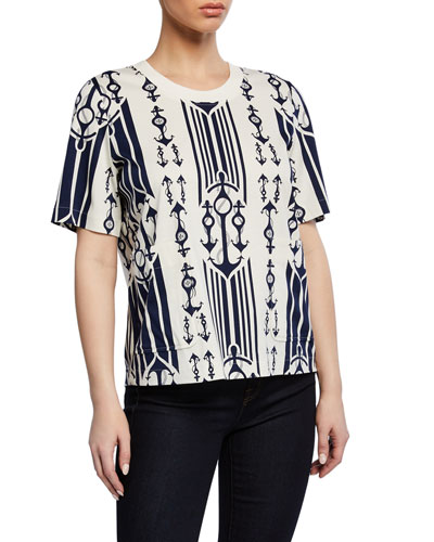Anchor-Print Short-Sleeve T-Shirt with Pockets