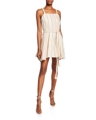Dimma Striped Sleeveless Mini Linen Dress w/ Braided Belt