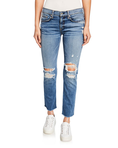 Dre Low-Rise Ankle Slim Boyfriend Jeans with Ripped Knees