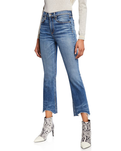 Nina High-Rise Ankle Flare Jeans w/ Chewed Hem