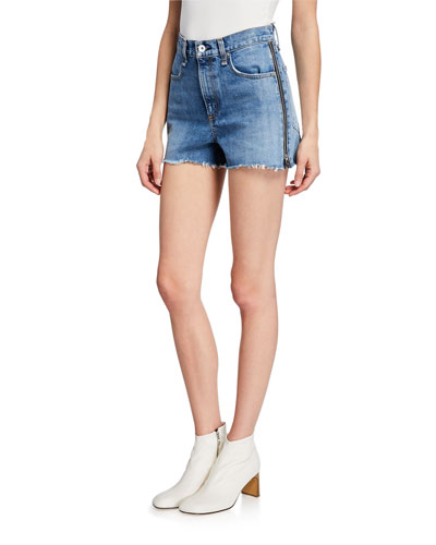 Maya High-Rise Shorts with Zippers