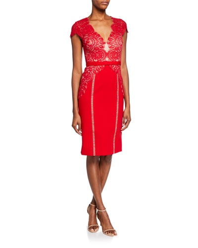Maya Lace-Bodice Cap-Sleeve Cocktail Dress