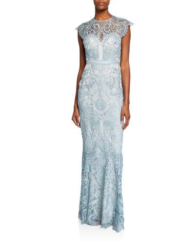 ae3bc5810fb8 Cap Sleeve Gown   Neiman Marcus