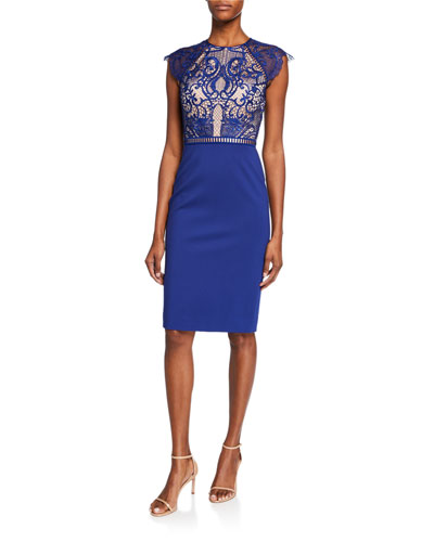 Maylee Cap-Sleeve Dress with Lace Bodice & Ponte Skirt