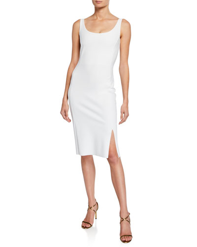 Nora Scoop-Neck Tank Dress with Thigh Slit