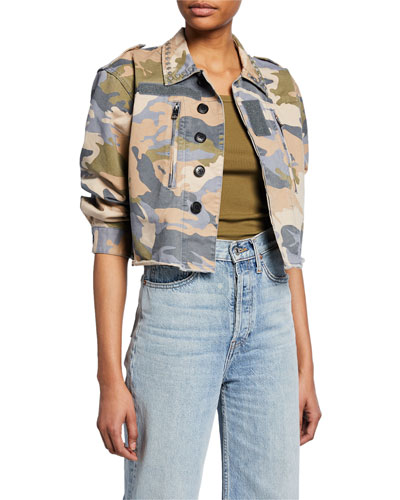 Cropped Camo-Print Studded Military Jacket