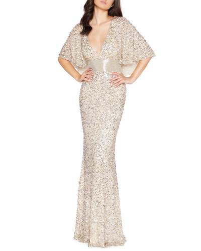 Sequin Plunge-Neck Flutter-Sleeve Column Gown