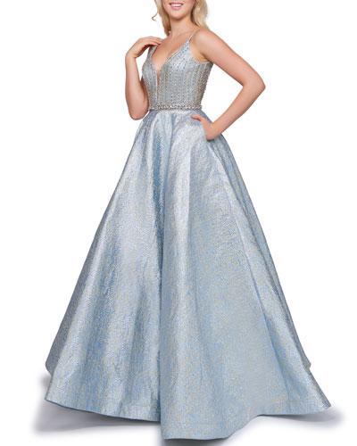 V-Neck Sleeveless Metallic Novelty Ball Gown