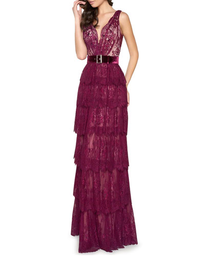 V-Neck Sleeveless Belted Tiered Scallop Lace Gown