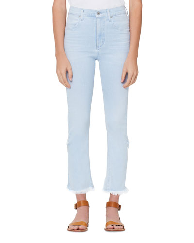 Drew High-Rise Fray Jeans w/ Step Hem