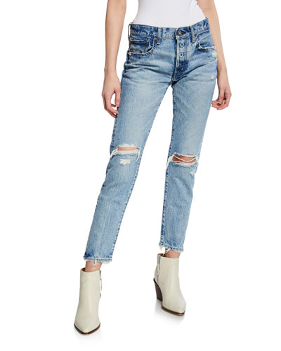 Lawton Tapered Mid-Rise Distressed Jeans