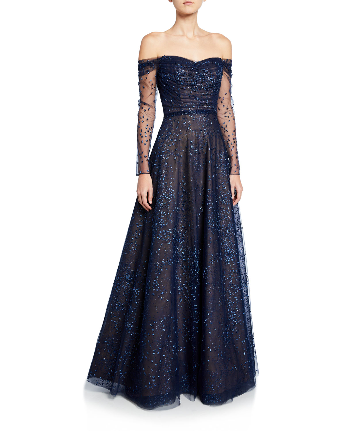 7382a20a6d8 Ombre Embellished Off-the-Shoulder Long-Sleeve Shirred Gown