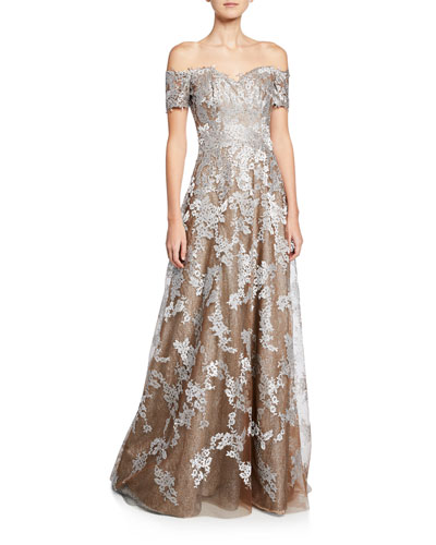 Off-the-Shoulder Sweetheart Short-Sleeve Metallic Lace Gown