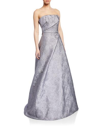 Strapless Textured Taffeta Bustier Gown