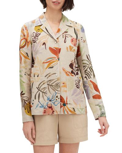 Jolisa Fiore-Print Button-Front Linen Jacket