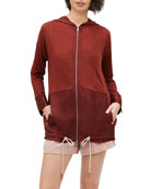 Lafayette 148 New York Colorblock Zip-Front Hooded Sweater