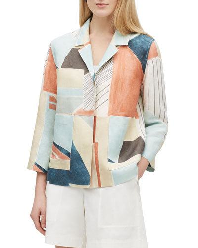 Layken Sunwashed Cityscape Button-Front Linen Jacket