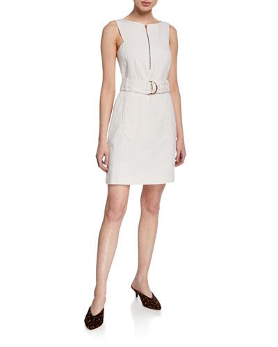 Lizel Belted Zip-Front Dress