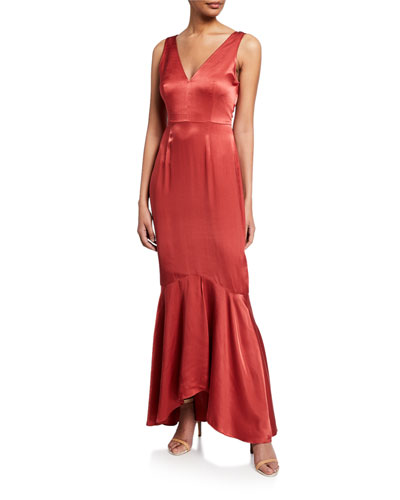 Florence V-Neck Sleeveless Satin Mermaid Gown