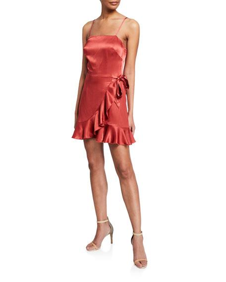 Donna Mizani Antonia Faux Wrap Spaghetti-Strap Ruffle Mini Dress