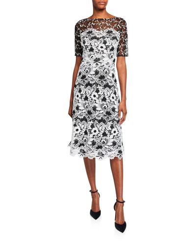 31cc3d615ea334 Quick Look. Rickie Freeman for Teri Jon · Bateau-Neck Elbow-Sleeve Floral Lace  Dress ...