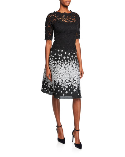 Elbow-Sleeve Cocktail Dress with Lace Top & Metallic Skirt