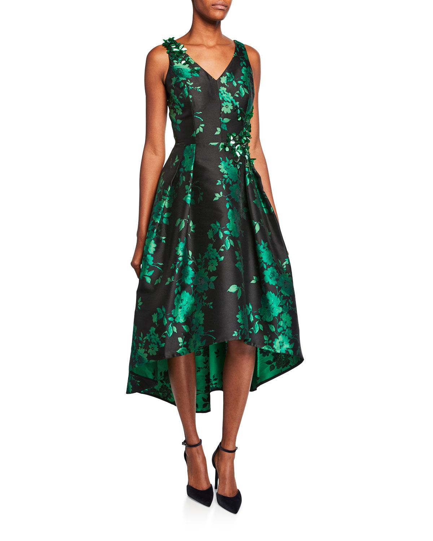 V-Neck Sleeveless High-Low Floral Jacquard Dress