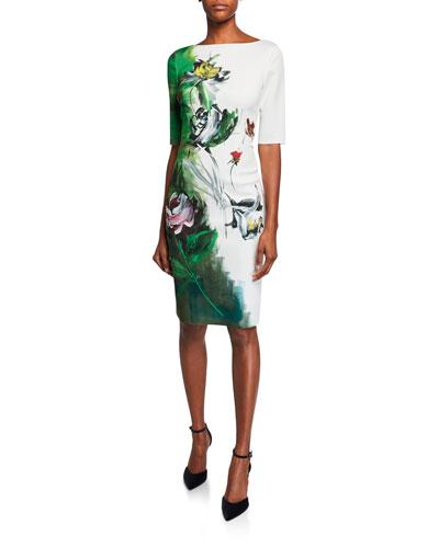 Border-Print Bateau-Neck Elbow-Sleeve Scuba Dress
