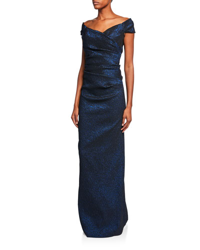 Off-the-Shoulder Draped Jacquard Gown