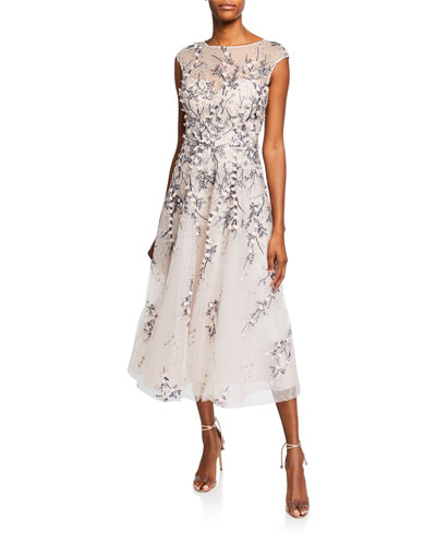 Bateau-Neck Cap-Sleeve 3D Floral Embroidered Tulle Dress