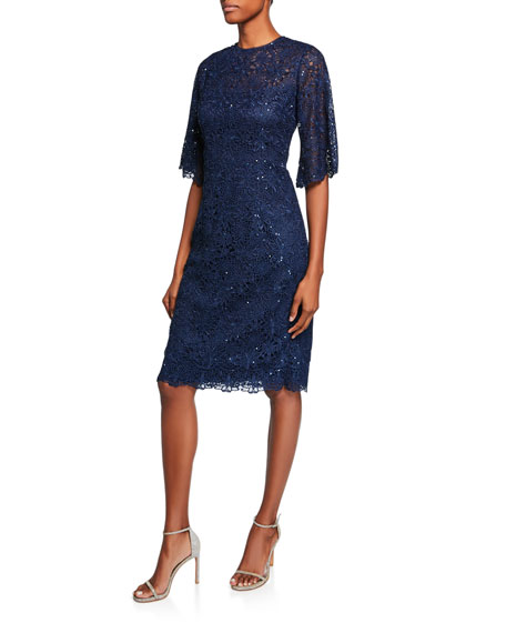 Rickie Freeman for Teri Jon Jewel-Neck Elbow-Sleeve Floral Lace Cocktail Dress