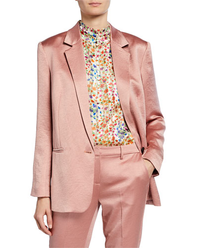 darcy one-button satin jacket