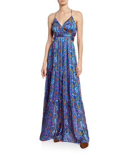 dd37b3a881 Quick Look. ba sh · Rosy Floral Open-Back Maxi Dress