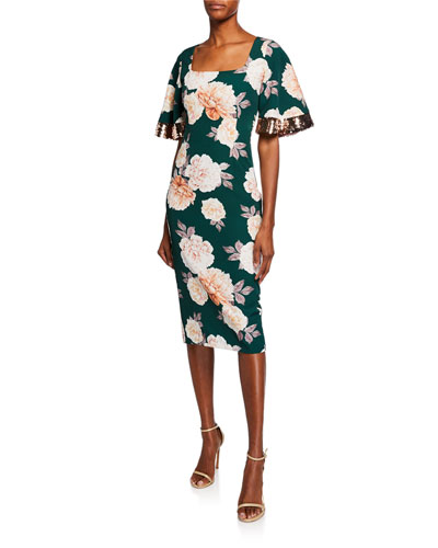 Abigail Floral-Print Square-Neck Dress w/ Sequin Trimmed Sleeves